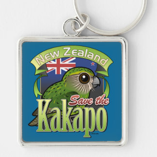Save the New Zealand Kakapo Silver-Colored Square Key Ring