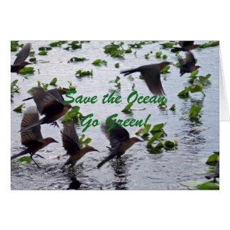 Save the Ocean Go Green Flying Birds Card
