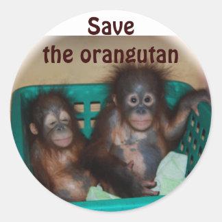 Save the Orangutan Classic Round Sticker