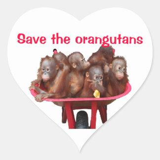 Save the Orangutans : Babies in Wheelbarrow Heart Sticker