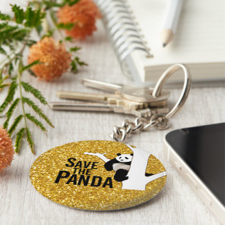 Save the Panda Bear Gold Glitter Background Basic Round Button Key Ring