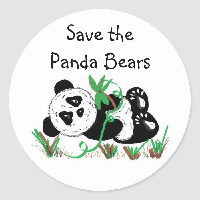 Save the Panda Bears Round Sticker