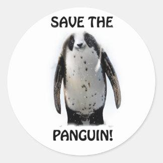 Save the Panguin! Round Sticker