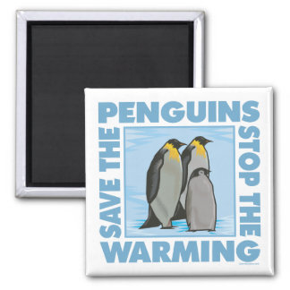 Save the Penguins Square Magnet