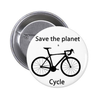 Save the planet and cycle 6 cm round badge
