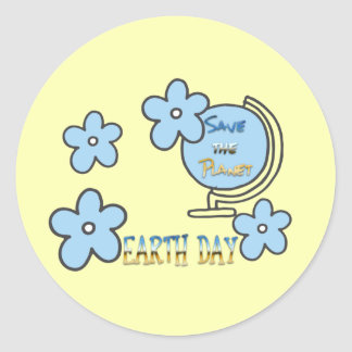 Save the Planet Earth Day Globe Classic Round Sticker