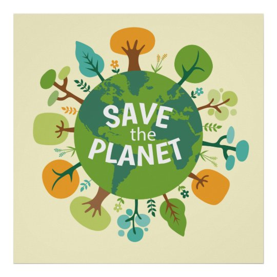 Save the Planet Earth Illustration Poster