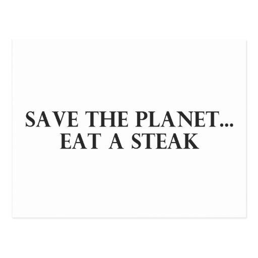 Save the Planet - Eat a Steak Postcard