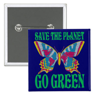 Save The Planet Go Green 15 Cm Square Badge