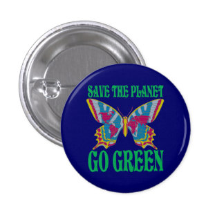 Save The Planet Go Green 3 Cm Round Badge