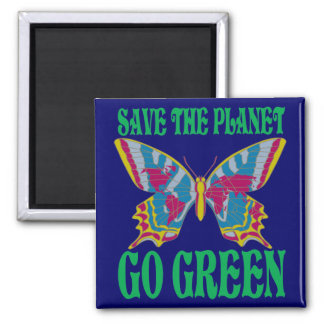 Save The Planet Go Green Refrigerator Magnet