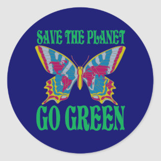 Save The Planet Go Green Round Stickers