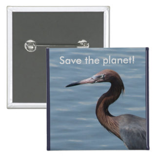 Save The Planet Heron Button