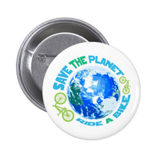 Save the Planet Ride a Bike 6 Cm Round Badge