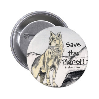 Save the Planet! Wolf Button