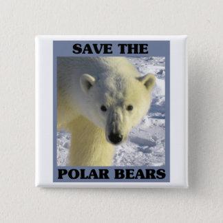 Save the Polar Bears 15 Cm Square Badge