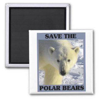 Save the Polar Bears Square Magnet