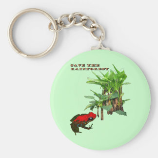Save the Rainforest Basic Round Button Key Ring