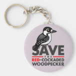 Save the Red-cockaded Woodpecker Basic Round Button Key Ring