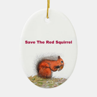 Save the red squirrel ceramic oval decoration