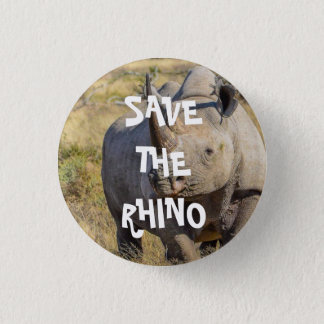 SAVE THE RHINO 3 CM ROUND BADGE