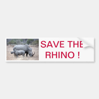 Save the rhino ! bumper sticker