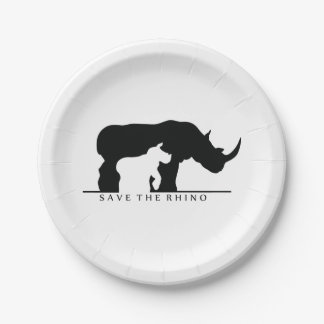 Save the Rhino Paper Plate