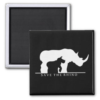 Save The Rhino Square Magnet