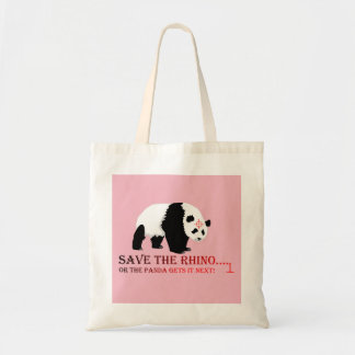 Save the rhino tote bag