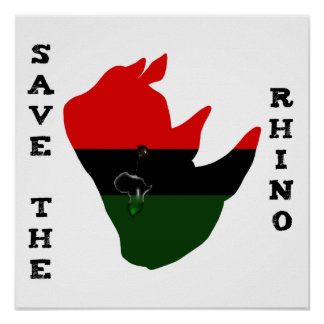Save the Rhino w/ Africa Tear White Poster