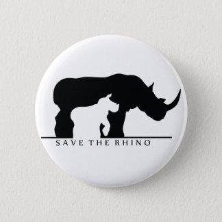 Save The Rhino (white ver.) 6 Cm Round Badge