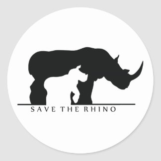 Save The Rhino (white ver.) Classic Round Sticker