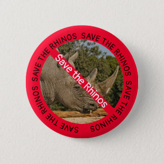 Save the Rhinos Animal Welfare Causes Button