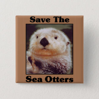 Save the Sea Otters 15 Cm Square Badge