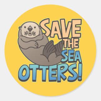 Save The Sea Otters Round Sticker