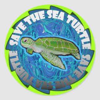 Save The Sea Turtle Classic Round Sticker