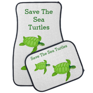 Save the Sea Turtle with 2 Green Turtles Floor Mat