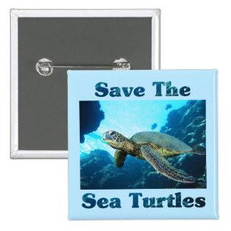 Save the Sea Turtles 15 Cm Square Badge
