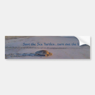 Save the Sea Turtles...turn out the lights bumper Bumper Sticker