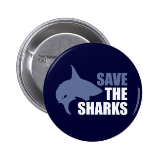 Save The Sharks, Save The Fins slogan 6 Cm Round Badge