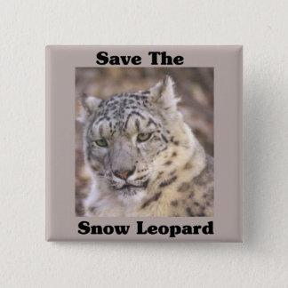 Save the Snow Leopard 15 Cm Square Badge