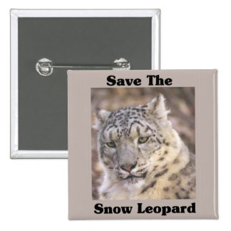 Save the Snow Leopard 15 Cm Square Badge