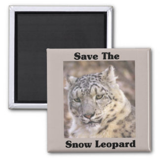 Save the Snow Leopard Square Magnet