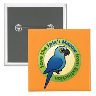 Save the Spix's Macaw from Extinction 15 Cm Square Badge