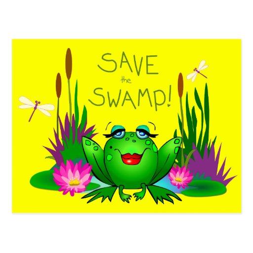 Save the Swamp Frog Beulah Yellow Postcard