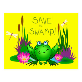 Save the Swamp Twitchy the Frog Yellow Postcards
