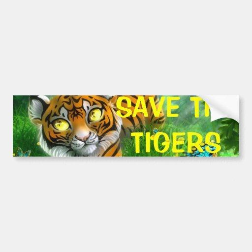 SAVE THE TIGERS bumper Bumper Stickers