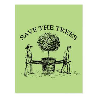 Save the Trees Vintage Illustration Postcard 1