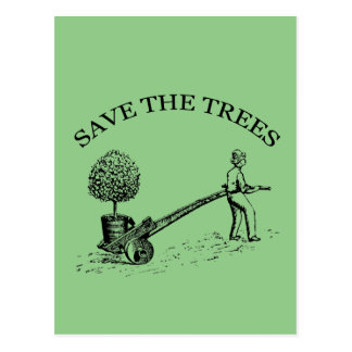 Save the Trees Vintage Illustration Postcard 2