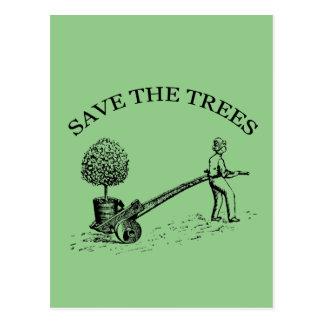 Save the Trees Vintage Illustration Postcard 2